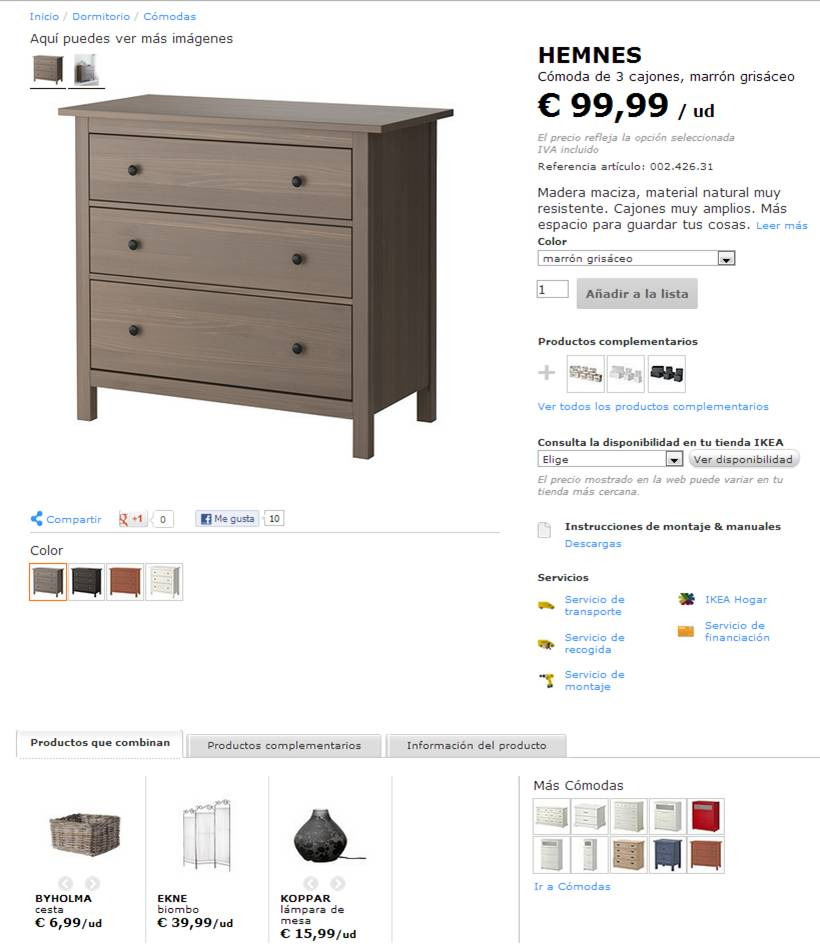 ejemplo ficha de producto muebles ikea