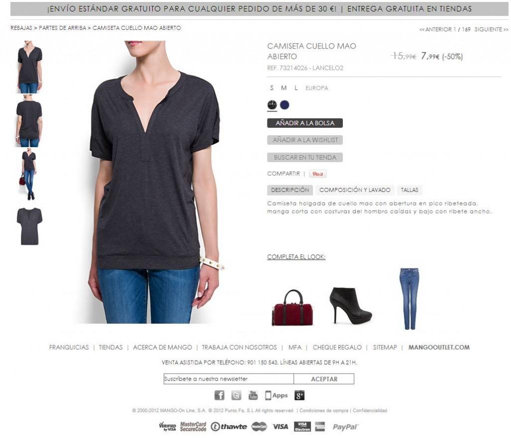 Ficha de producto Moda