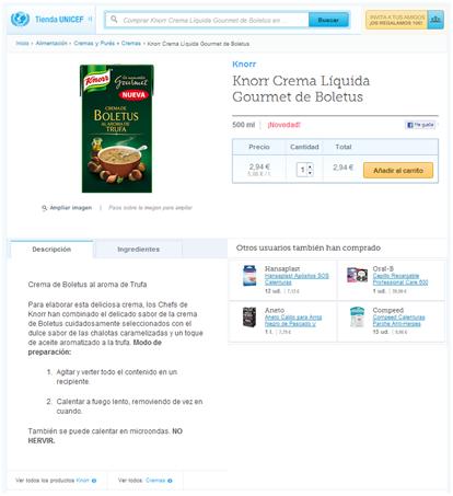 Ficha de producto ecommerce supermercado