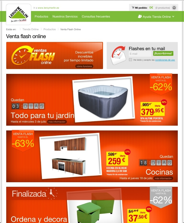 Webs con ventas flash propias e commerce opinions for Leroy merlin flash