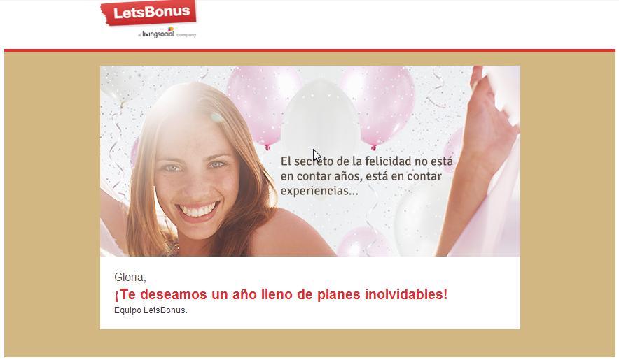 Email felicitación Letsbonus