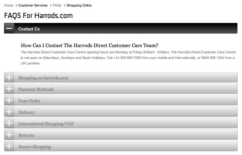 Pagina de Preguntas Frecuentes - Harrods