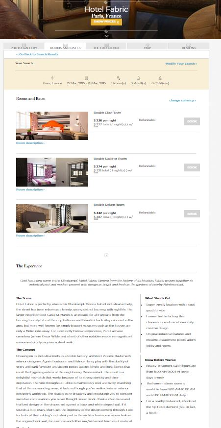 Boutique Hotels - Scroll Vertical